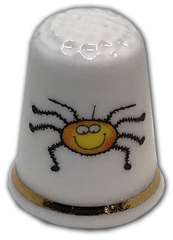 cute eek spider personalised china thimble