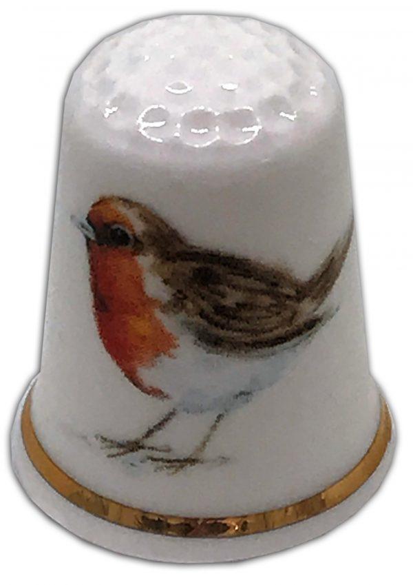 robin personalised china thimble