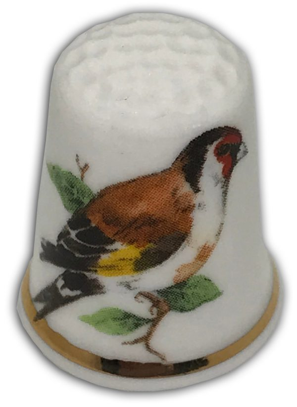 personalised gold finch bird thimble