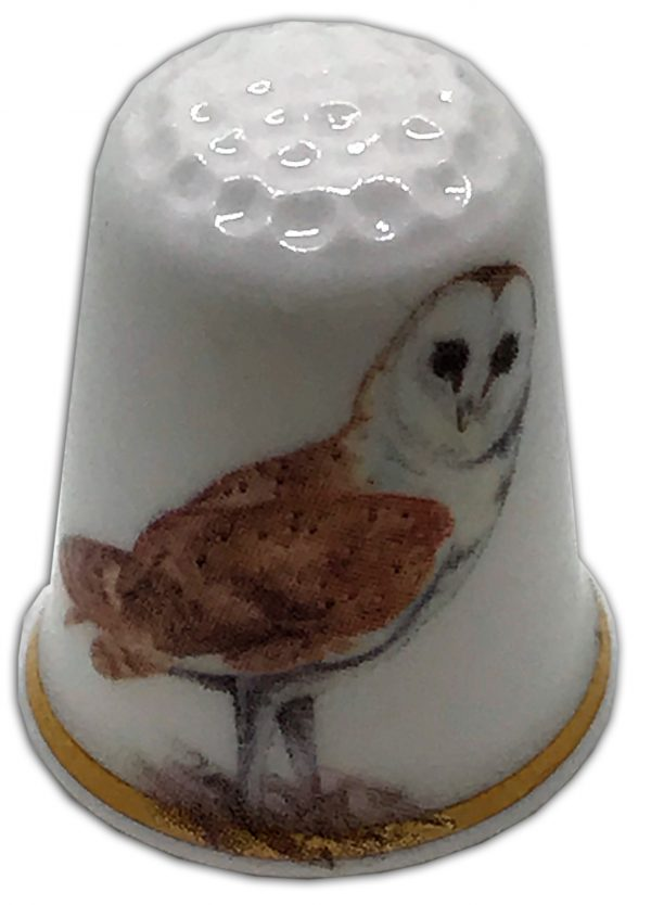 barn owl personalised china thimble