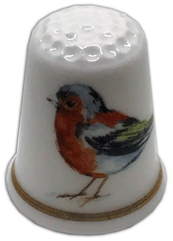 chaffinch personalised china thimble