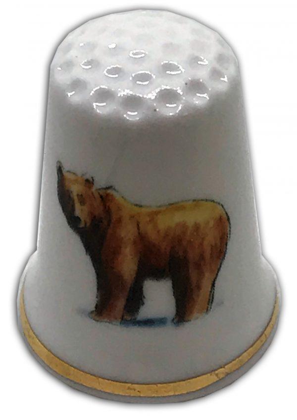 brown bear personalised china thimble