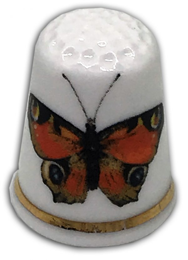 butterfly personalised china thimble