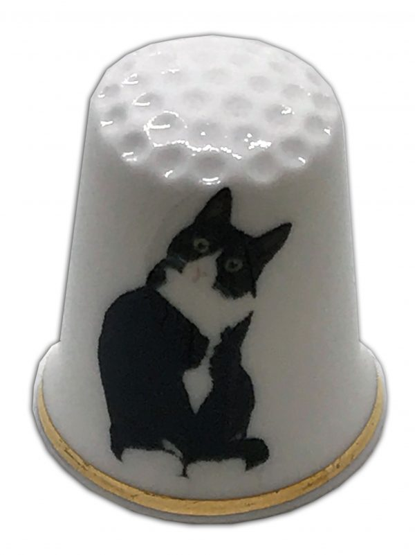 black and white cat personalised thimble