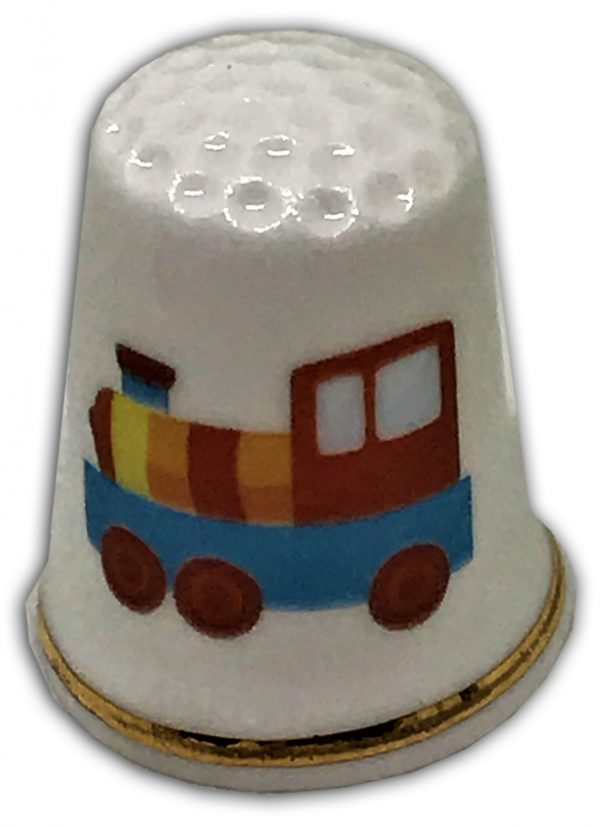 child's train personalised china thimble
