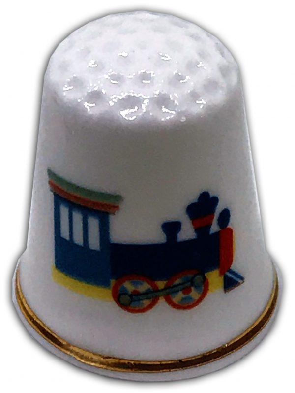 child's train personalised china thimble