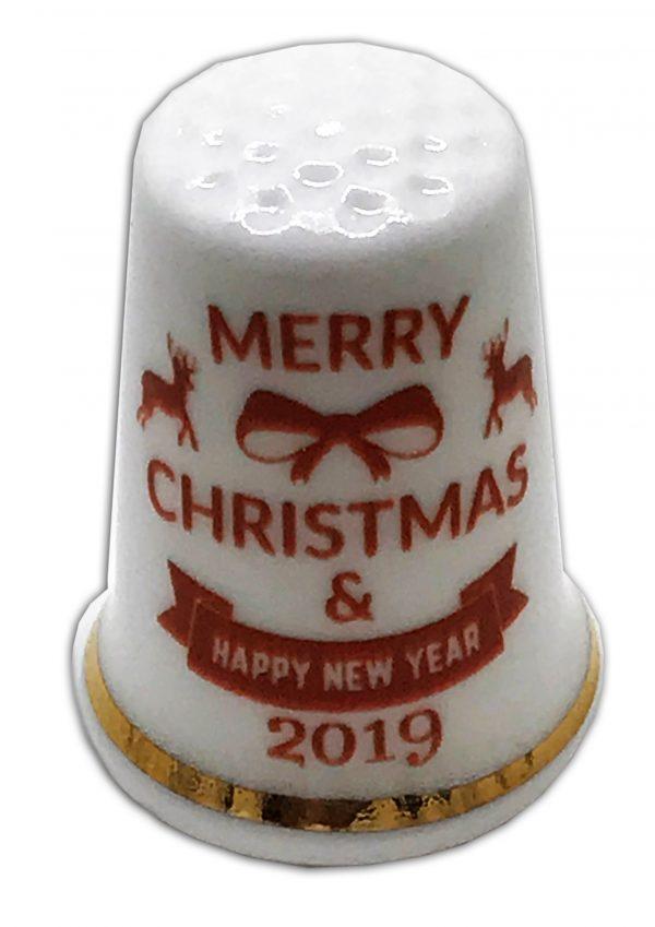 Christmas Wishes 2019 Personalised China Thimble