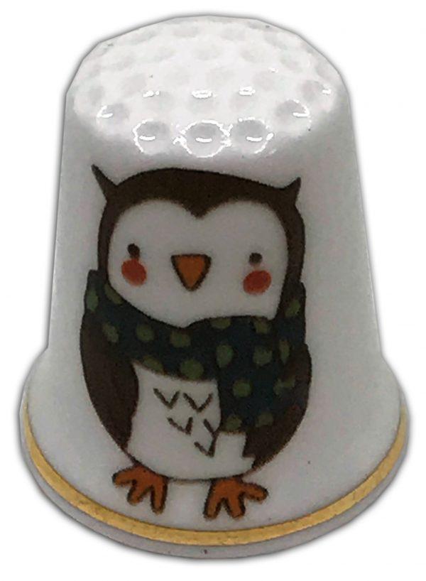 Christmas Owl personalised Christmas china thimble
