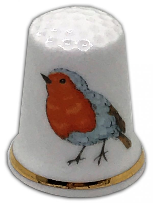 christmas robin personalised china thimble