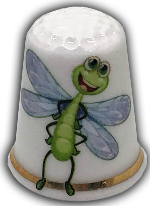 cute dragonfly personalised china thimble