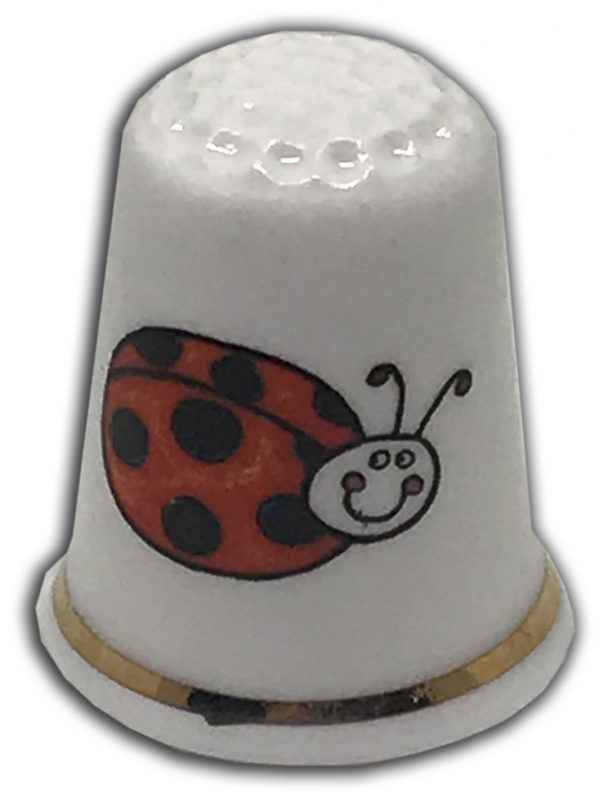 cute ladybird personalised china thimble