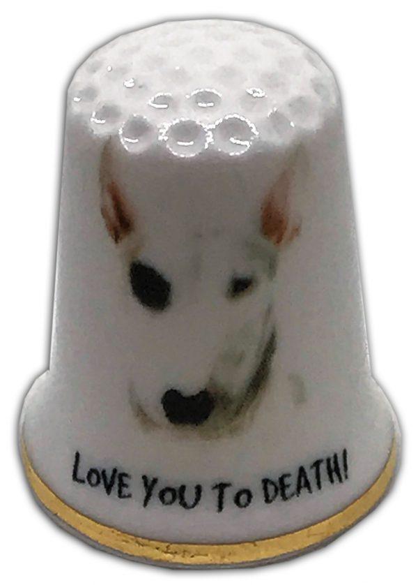 personalised dog themed china thimble