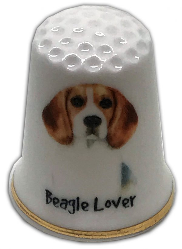 personalised dog themed china thimble