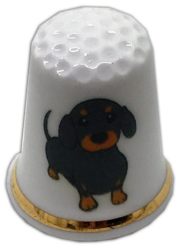 dog themed personalised china thimble