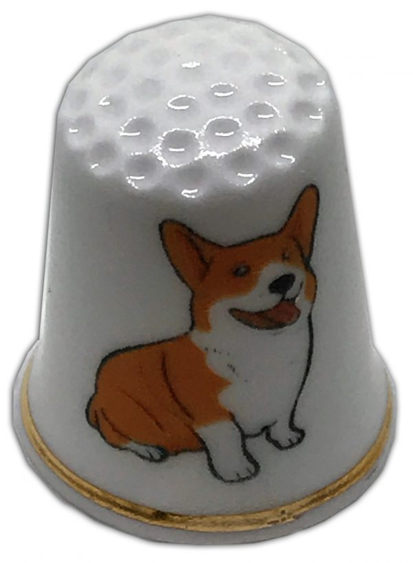 dog themed personalised china thimble