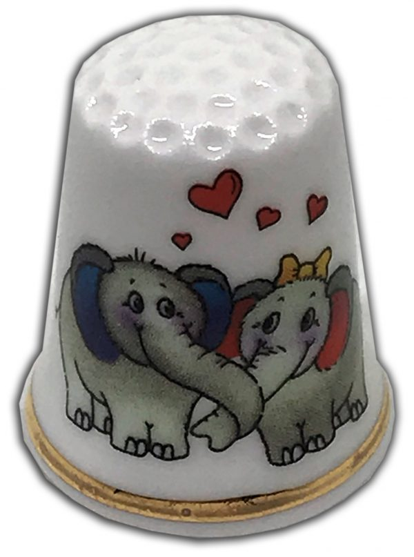 elephant love personalised china thimble