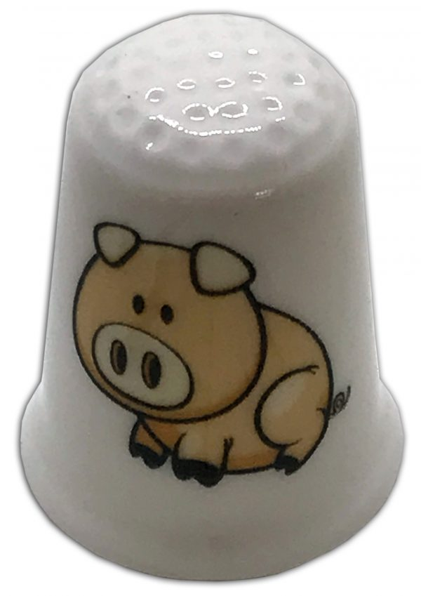 farmyard pig personalised china thimble