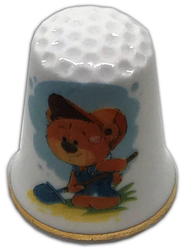 gardening bear china thimble
