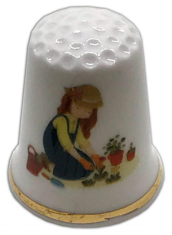 gardening girl china thimble