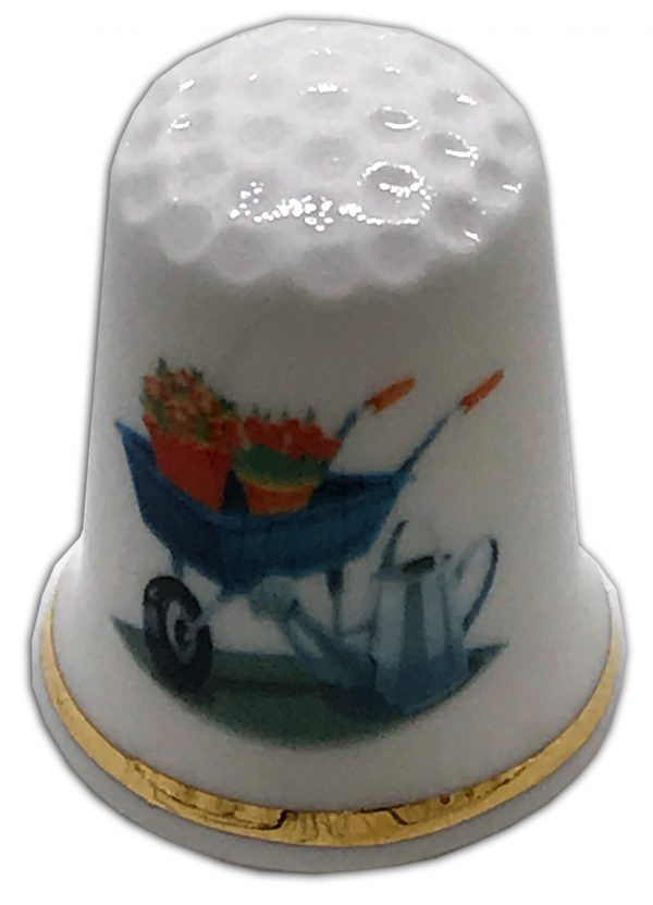 gardening themed china thimble