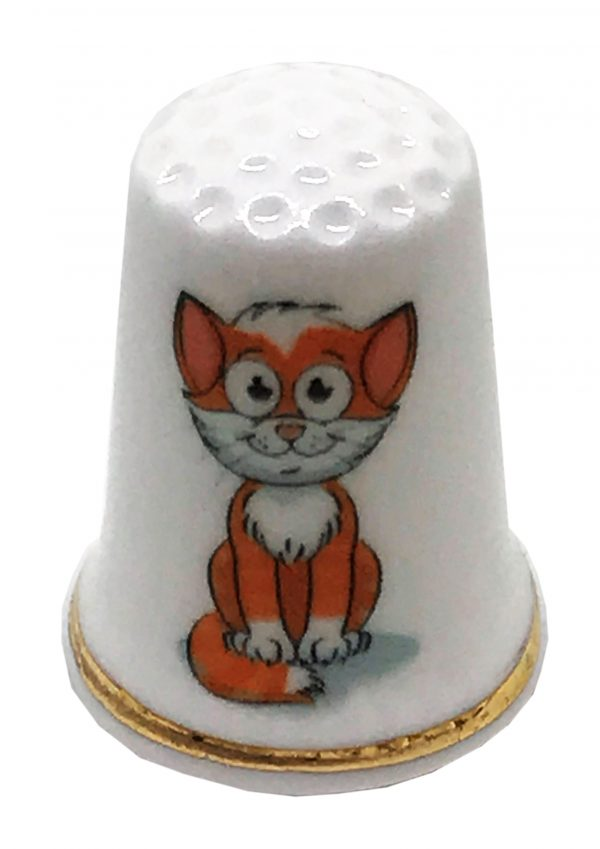 cartoon cat personalised china thimble