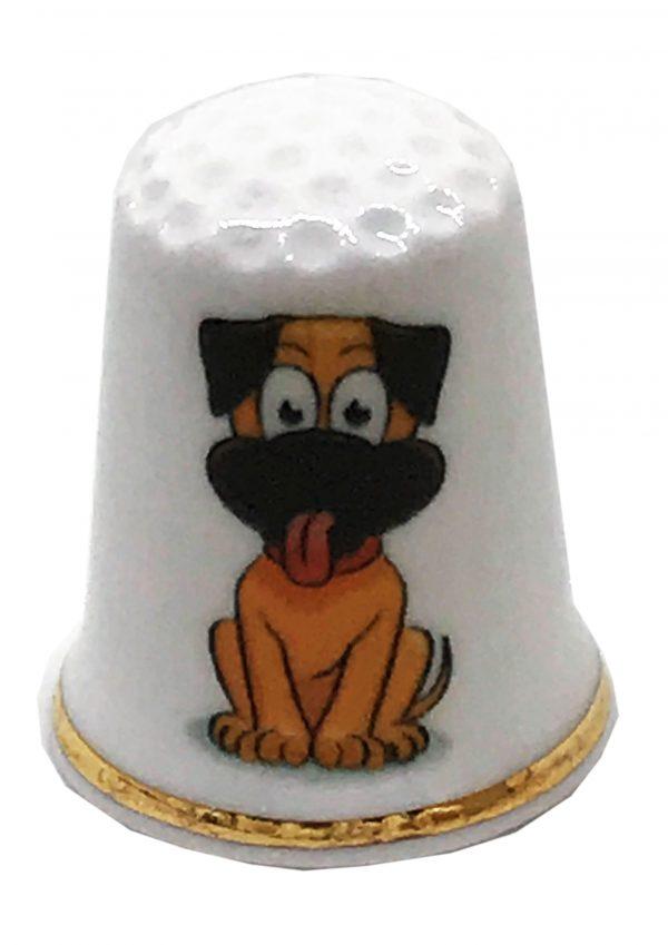 cartoon dog personalised china thimble