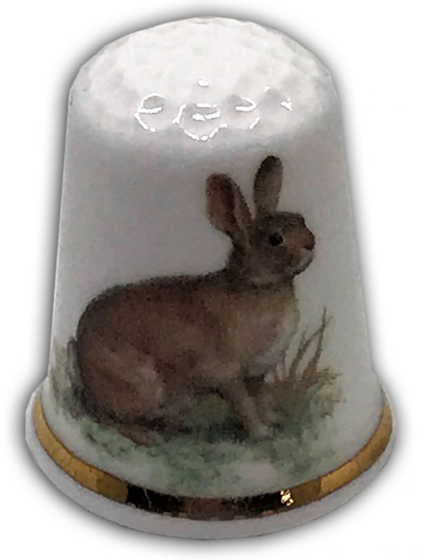 personalised china thimble hare design