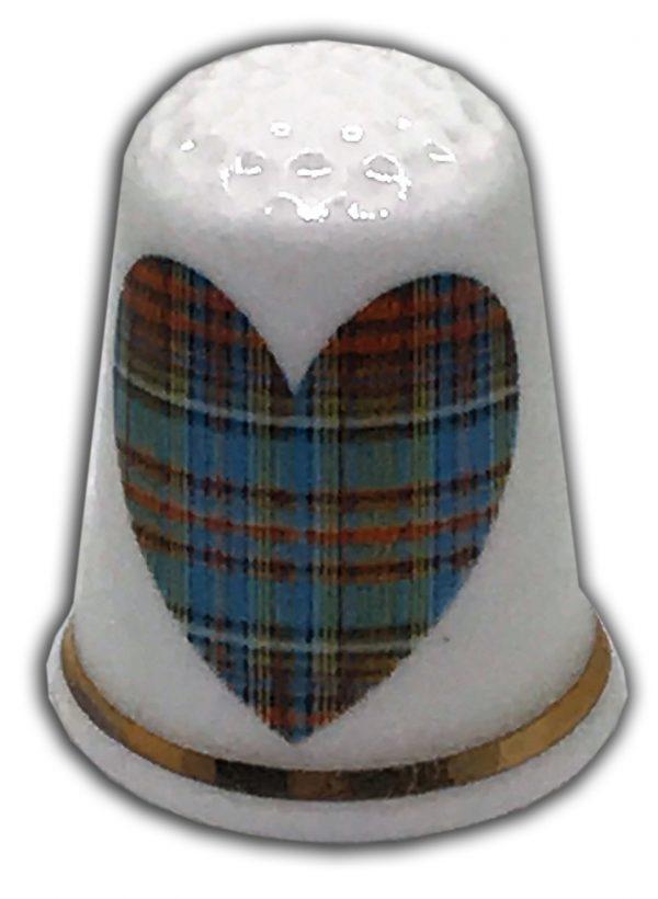 romantic tartan heart wedding engagement china thimble