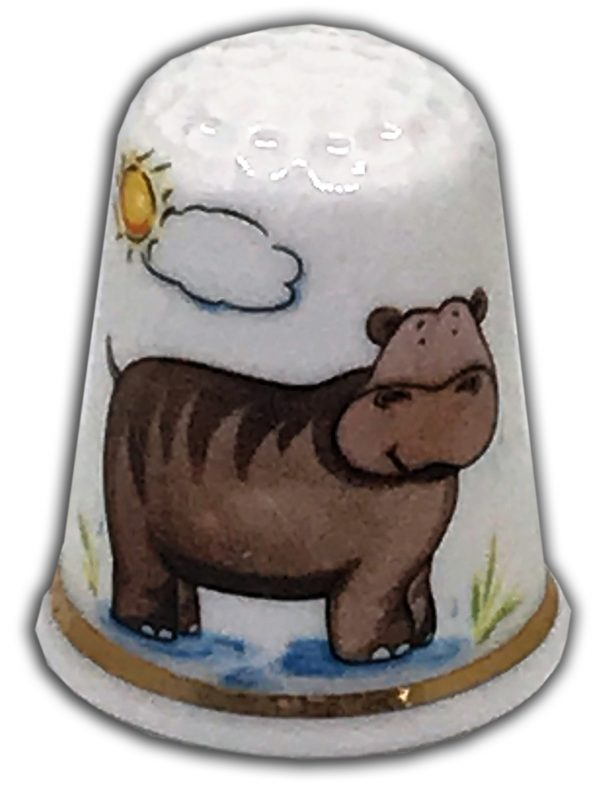 personalised china hippo thimble