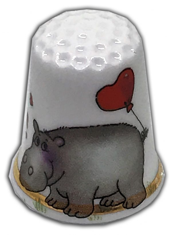 cute hippo personalised china thimble