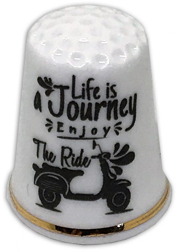 lifes a journey personalised china thimble