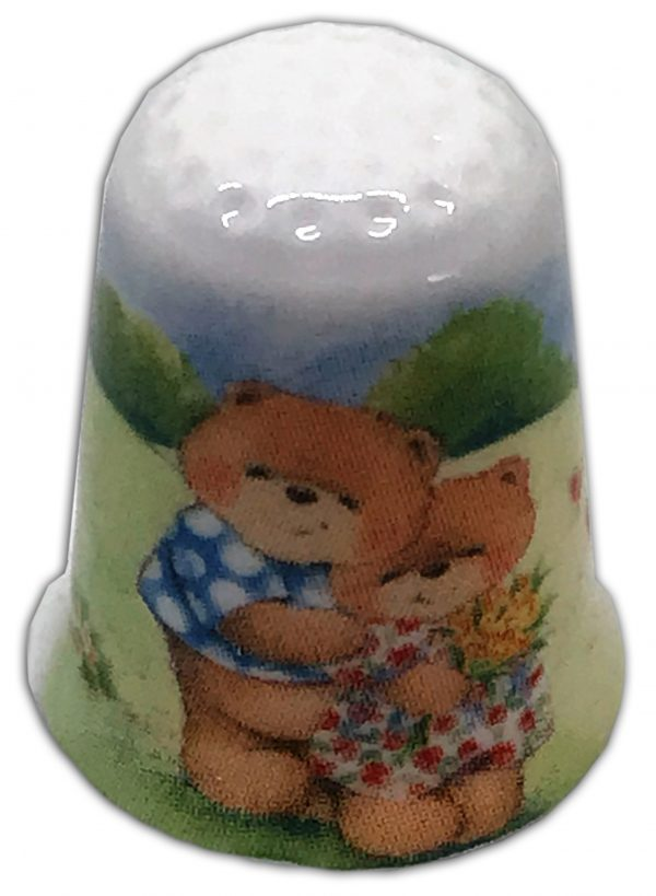 Romantic Love bears personalised china thimble