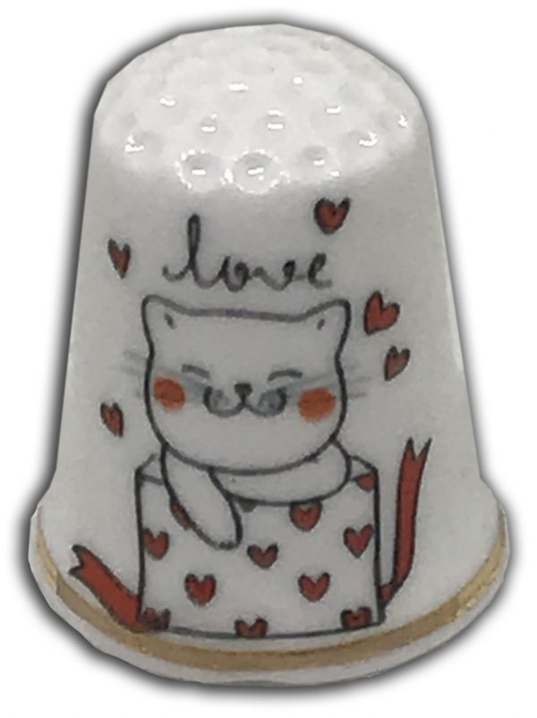 Love cat personalised china thimble