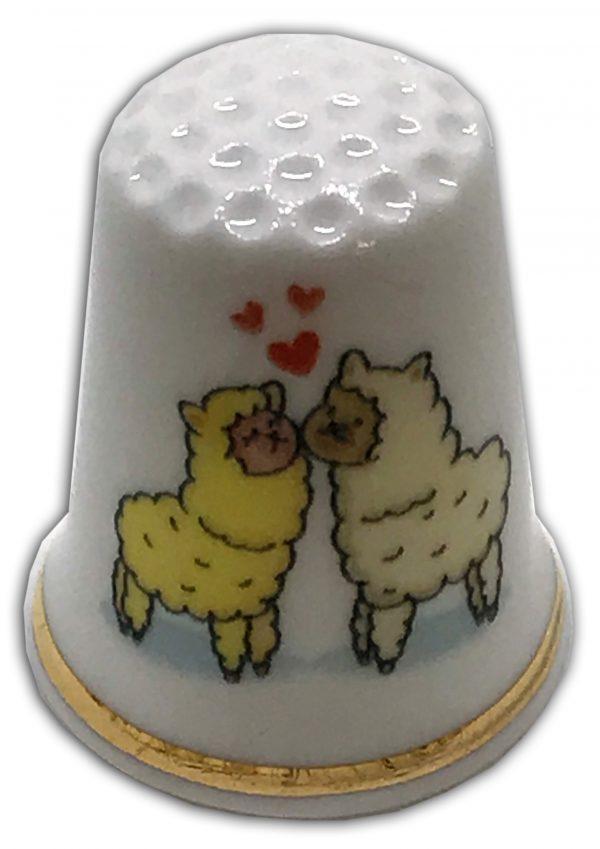 loving llamas personalised china thimble