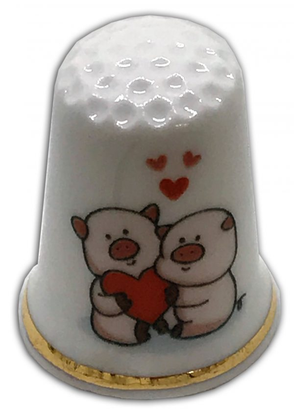 loving piggies personalised pig thimble