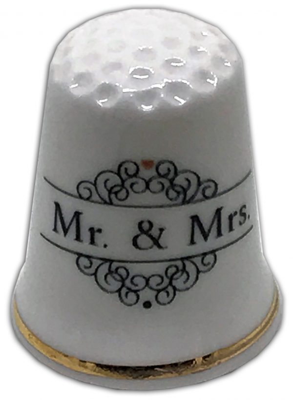 mr and mrs personalised china thimble