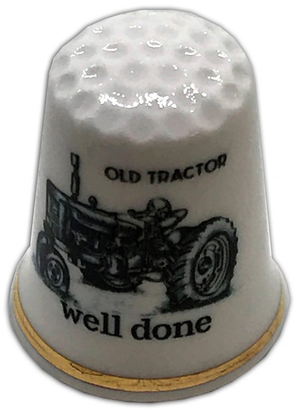 personalised old vintage tractor china thimble
