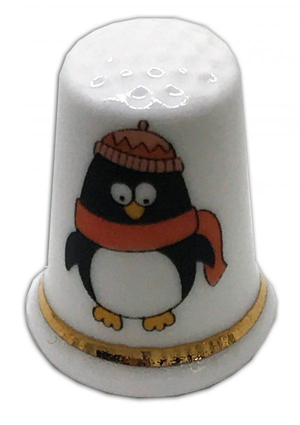 personalised Christmas Penguin china thimble