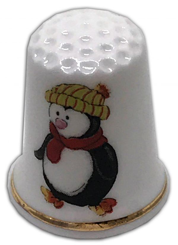 christmas penguin personalised china thimble