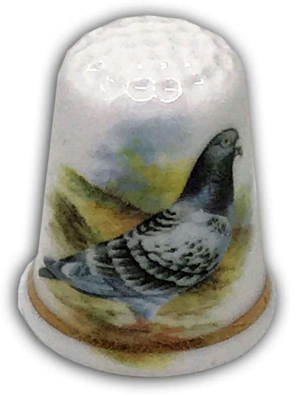 personalised china pigeon thimble
