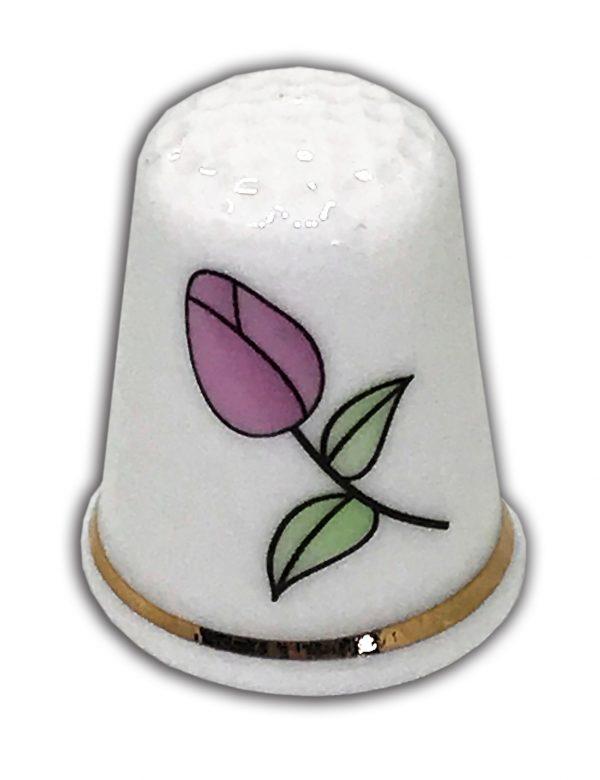 Personalised pink tulip china thimble