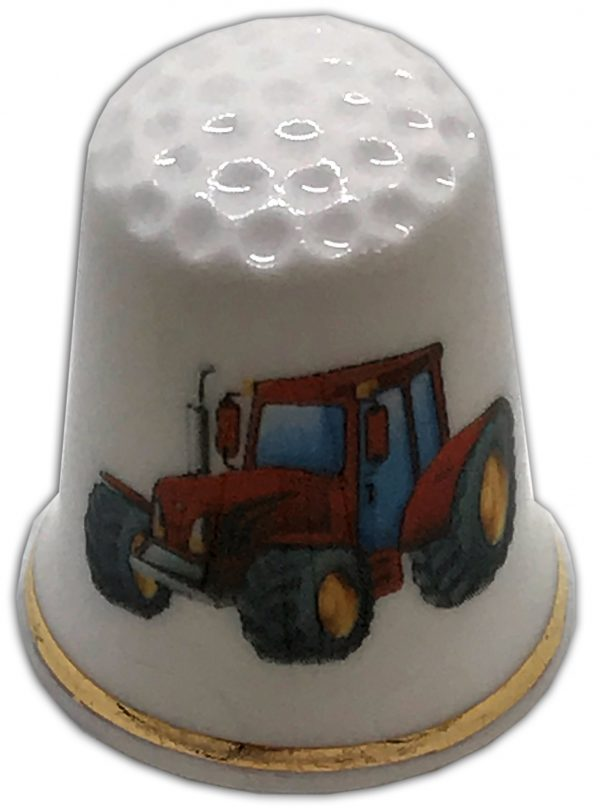 red tractor personalised china thimble