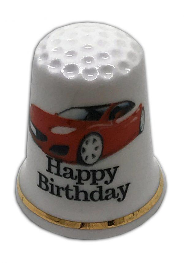 red sports car happy birthday china thimble