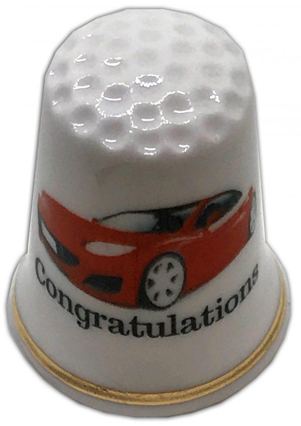 red sports car congratulations thimble