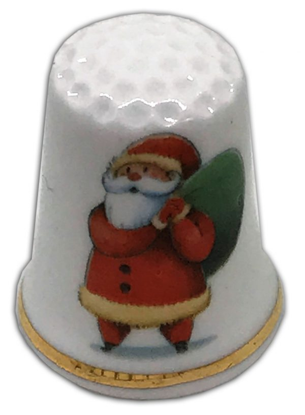 Retro Santa personalised Christmas china thimble