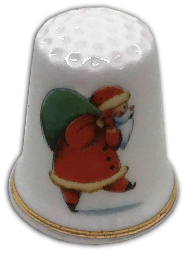 Retro Santa personalised Christmas china thimble