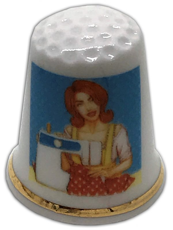 sewing themed personalised china thimble