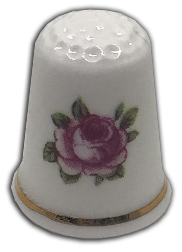 vintage style rose bud china personalised thimble