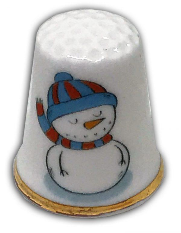 personalised Christmas snowman china thimble