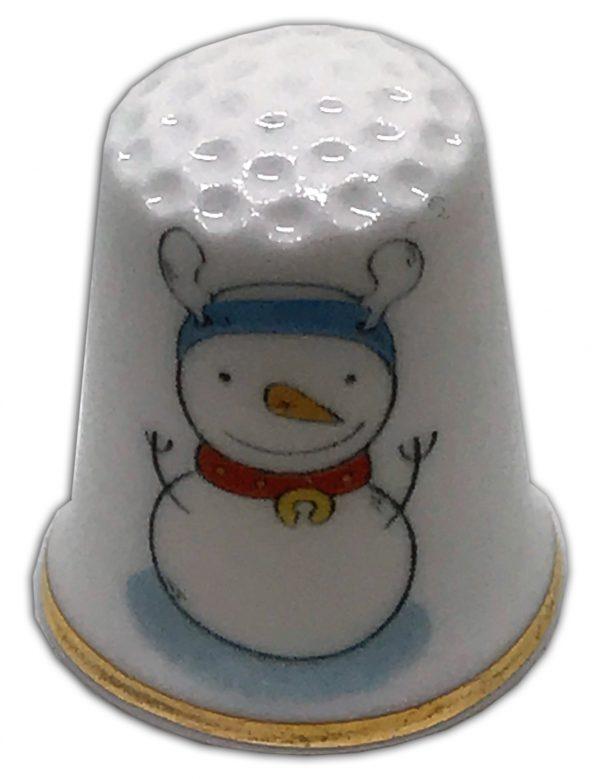 christmas snowmen personalised china thimble